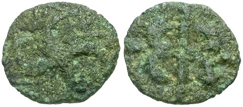 Ancient Coins - F/F Veliocasses AE / Swastika of Horse Heads RRR