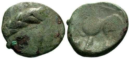 Ancient Coins - gF/gF Scarce Celtic Bronze Tetradrachm Imitating Philip