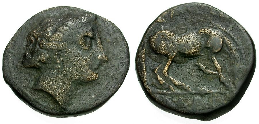 Ancient Coins - Thessaly.  Larissa Æ17 / Horse