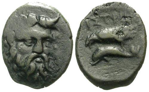 Ancient Coins - VF/VF Istros AE15 / River god