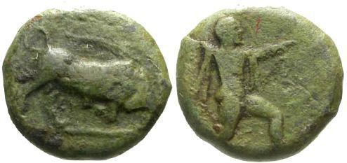 Ancient Coins - aVF/aVF  Lucania Poseidonia AE14 Quadrans / Poseidon and Bull