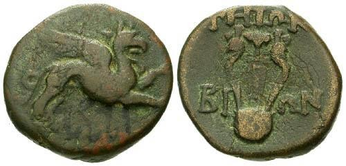 Ancient Coins - gF/gF Teos Ionia AE / Griffin and Lyre