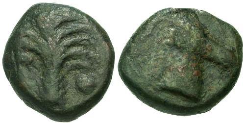 Ancient Coins - gF/gF Carthage Zeugitania AE17 / Horses Head and Palm Tree