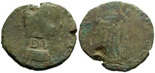 Ancient Coins - F/VG Claudius Barbaric Sestertius DV Counterstamp