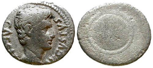 Ancient Coins - Caesar Augustus AR Denarius / Shield