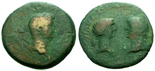 Ancient Coins - gF/gF Nero and Octavia Crete Knossos AE27