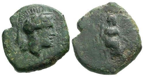 Ancient Coins - VF/VF Sicily Atl Mercenaries in Mid Northern Sicily AE Hemilitron RRR