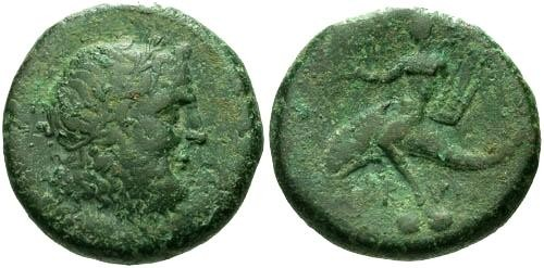 Ancient Coins - VF/VF Calabria Brundisium AE Sextans / Naked Youth on Dolphin