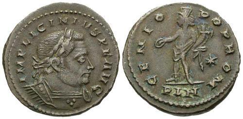 Ancient Coins - VF/VF Licinius I AE Follis / London Genio