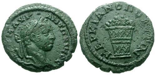 Ancient Coins - VF/VF Elagabalus Moesia Inferior Marcianopolis AE17 / Basket of fruit