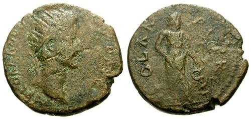 Ancient Coins - gF/gF Commodus Achaia Patrae AE25 / Asklepios