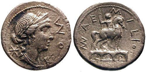 Ancient Coins - 114-113 BC / aVF/VF Aemilia 7 Roman Republic Denarius / Equestrian statue on arch