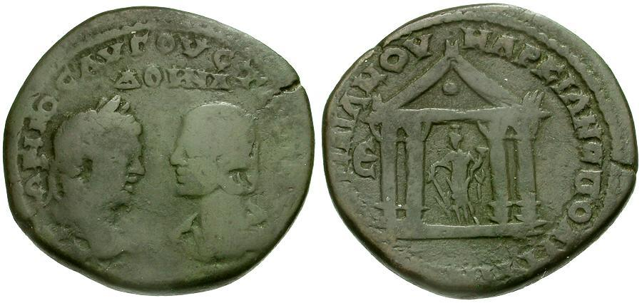 Ancient Coins - Caracalla and Julia Domna. Moesia. Markianopolis Æ27 / Tyche in Temple