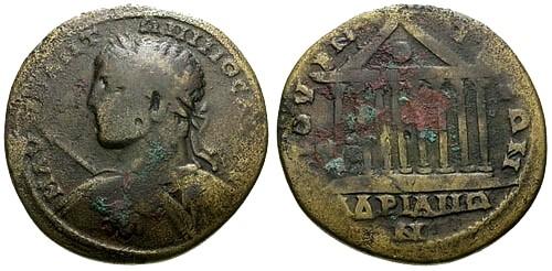 Ancient Coins - gF/gF Elagabalus Bithynia Bithynium-Claudiopolis AE33 / Temple