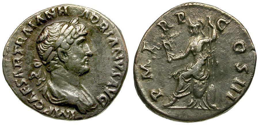 Ancient Coins - Hadrian AR Denarius / Roma