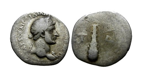 Ancient Coins - aVF/F Hadrian AR Hemidrachm Cappadocia / Club