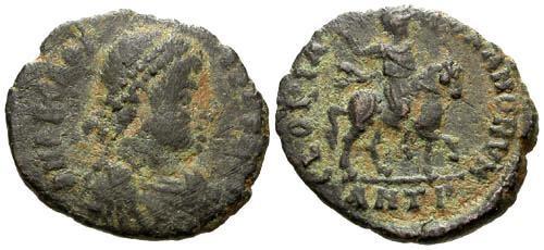 Ancient Coins - gF/aVF Arcadius AE3 / Arcadius on Horseback