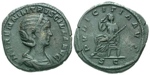 Ancient Coins - VF/VF Herennia Etruscilla Sestertius / Pudicitia