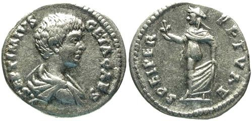 Ancient Coins - VF/VF Geta as Caesar Denarius / Spes / Laodicea mint