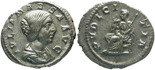 Ancient Coins - VF/VF Julia Maesa Denarius / Pudicitia