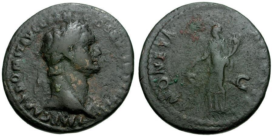 Ancient Coins - Domitian.  Æ AS / Moneta
