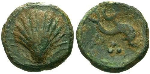 Ancient Coins - VF/VF Sagunto Spain AE Quadrans / Cockle Shell and Dolphin