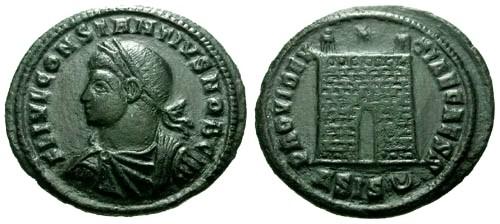 Ancient Coins - VF/VF Constantius II as Caesar AE3 / Campgate