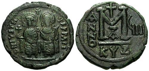 Ancient Coins - VF/VF Justin II Follis