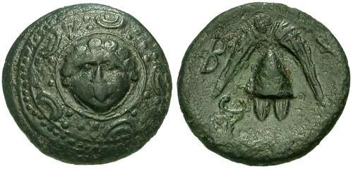 Ancient Coins - gVF/aVF Macedonian AE16 Interregnum period / Gorgon