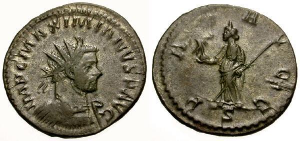 Ancient Coins - VF/VF Maximianus Silvered Antoninianus / Pax