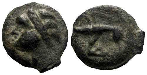 Ancient Coins - EF/VF Leuci Tribe Celtic Potin / Barbarian Warrior & Boar