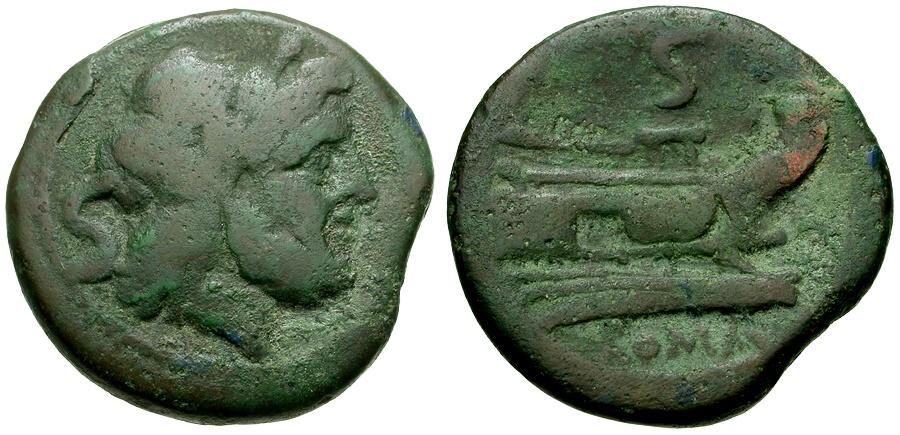 Ancient Coins - 211 BC - Roman Republic Æ Semis