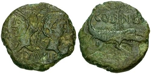 Ancient Coins - aVF/VF Augustus and Agrippa Colonial AE26 / Crocodile