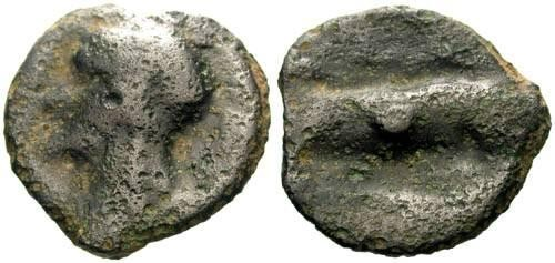 Ancient Coins - VF/F+ Turones Tribe Potin / Devil Head