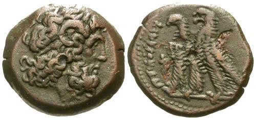 Ancient Coins - VF/VF Ptolemy VI AE20 / Two Eagles