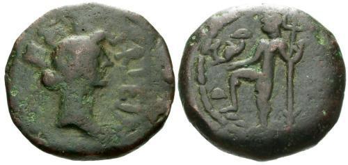 Ancient Coins - gF/gF Time of Augustus AE Semis of Roman Carteia Iberia / Neptune