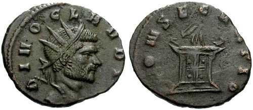 Ancient Coins - VF/aVF Divo Claudius II Gothicus / Altar