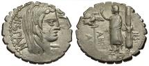 Ancient Coins - 81 BC - Roman Republic. A. Postumius A.f. Sp. N. Albinus AR Serrate Denarius / Hispania