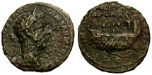 Ancient Coins - Marcus Aurelius Æ AS / Galley with Rowers