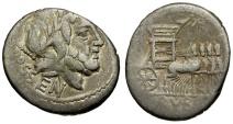 87 BC - Roman Republic. L. Rubrius Dossenus AR Denarius / Triumphal Quadriga