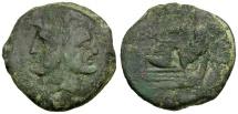 Ancient Coins - Roman Republic. Cnaeus Pompey Jr Æ AS / CN MAG