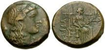 Ancient Coins - Sicily. Syracuse. Pyrrhos Æ21 / Demeter Seated