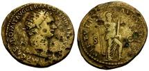 Ancient Coins - gF+/gF+ Domitian Brass Dupondius / Virtus