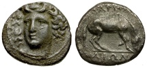 Ancient Coins - Thessaly.  Larissa AR Drachm / Horse