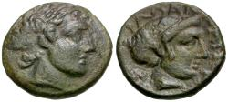 Ancient Coins - Thessaly. Phalanna Æ17 / Nymph