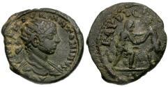 Ancient Coins - VF/aVF Elagabalus Seleucis and Pieria Laodicea ad Mare Æ20 / Wrestlers