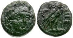 Ancient Coins - Troas. Sigeion Æ11 / Athena and Owl