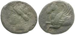 Ancient Coins - Sicily. Syracuse. Timoleon (344-317 BC). Third Democracy AR Hemidrachm / Pegasus