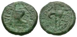 Ancient Coins - Kingdom of Thrace. Rhoemetalkes I Æ14 / Throne and sceptre / Fasces