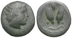 Ancient Coins - Islands of Caria. Rhodos AR Diobol / Rose Buds and Shield